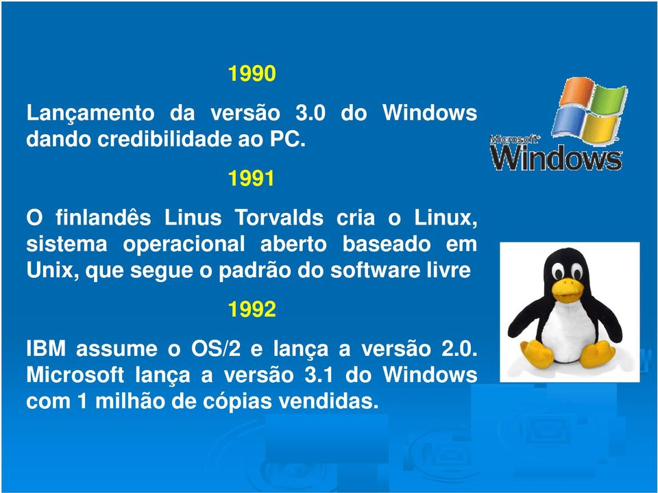 baseado em Unix, que segue o padrão do software livre 1992 IBM assume o OS/2