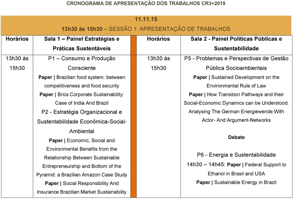 e Perspectivas de Gestão Consciente 15h30 Pública Socioambientais Paper Brazilian food system: between Paper Sustained Development on the competitiveness and food security Environmental Rule of Law