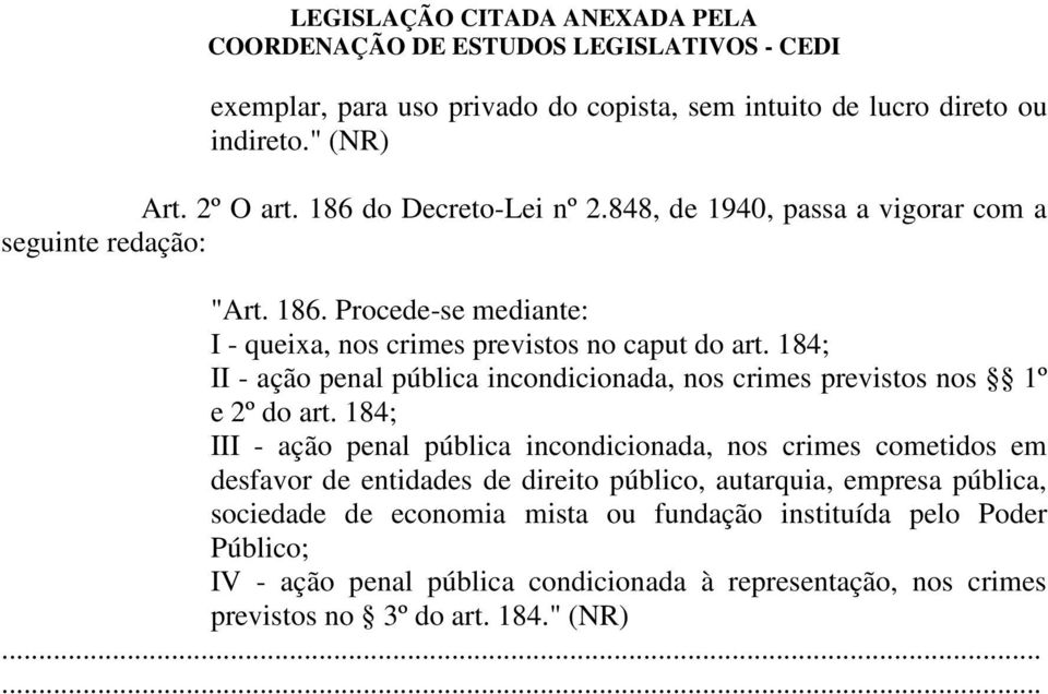 184; II - ação penal pública incondicionada, nos crimes previstos nos 1º e 2º do art.