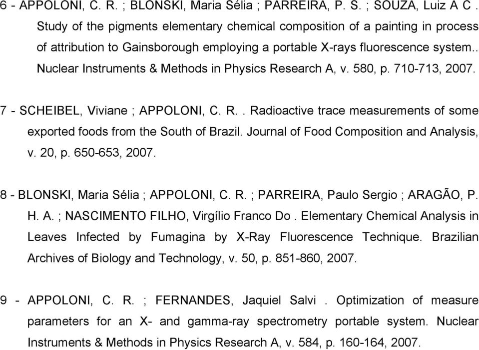 . Nuclear Instruments & Methods in Physics Research A, v. 580, p. 710-713, 2007. 7 - SCHEIBEL, Viviane ; APPOLONI, C. R.. Radioactive trace measurements of some exported foods from the South of Brazil.