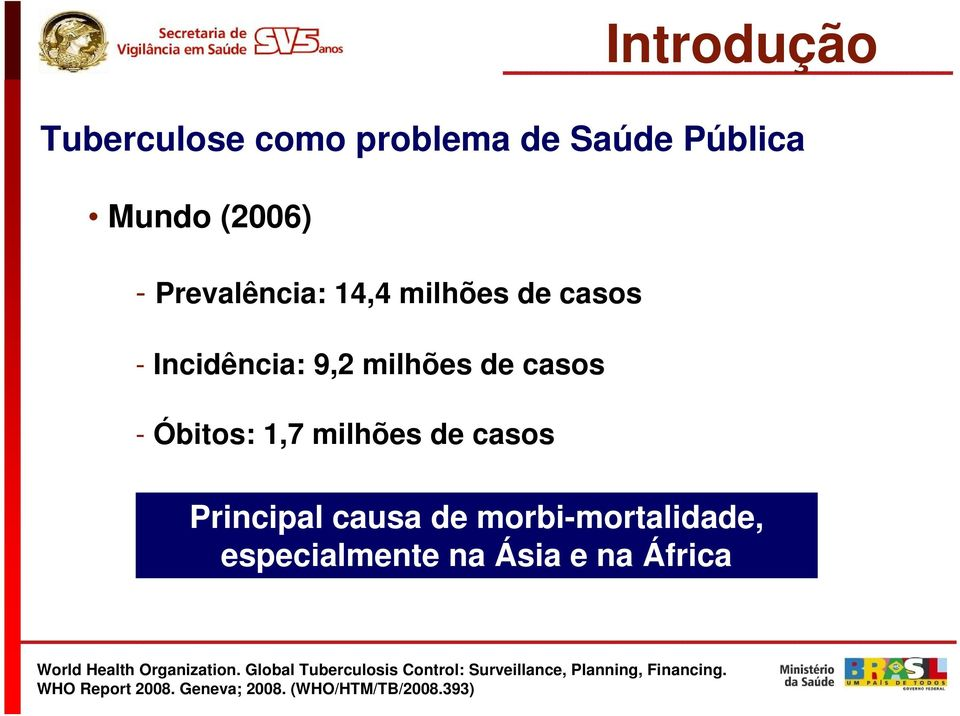 morbi-mortalidade, especialmente na Ásia e na África World Health Organization.