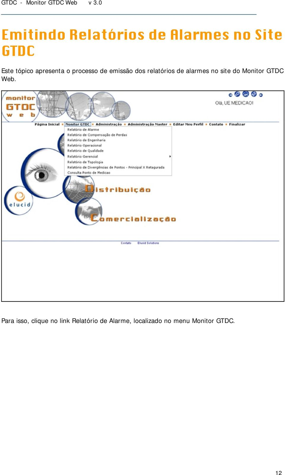 alarmes no site do Monitor GTDC Web.