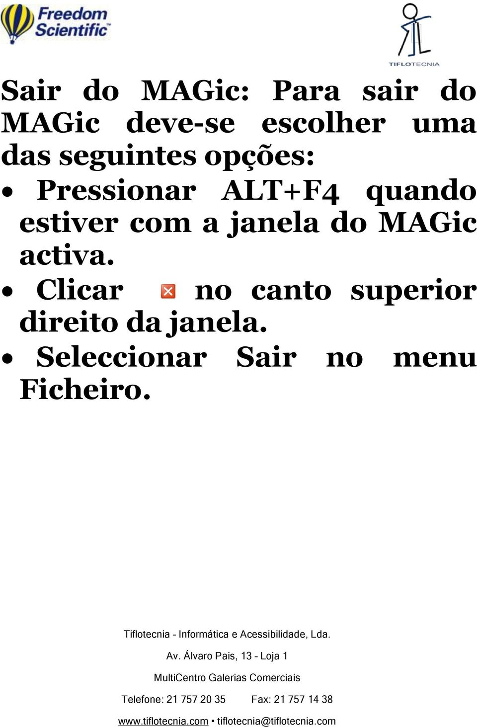 com a janela do MAGic activa.