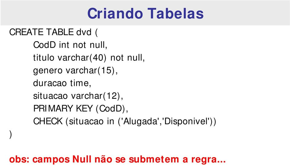 situacao varchar(12), PRIMARY KEY (CodD), CHECK (situacao in
