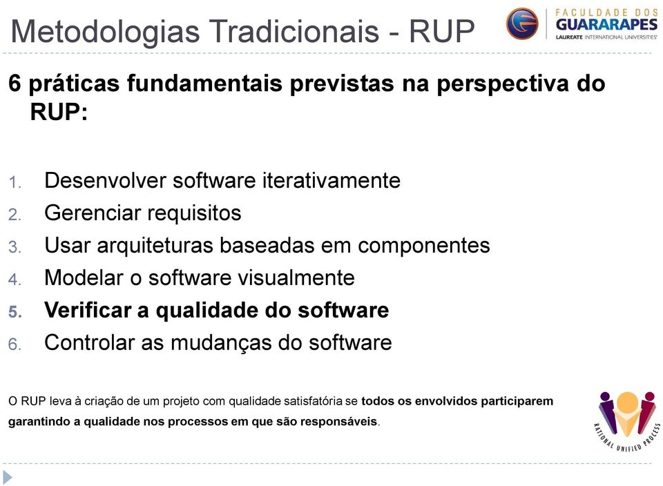 Modelar o software visualmente 5. Verificar a qualidade do software 6.