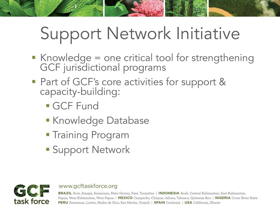 GCF s core activities for support & capacity-building:
