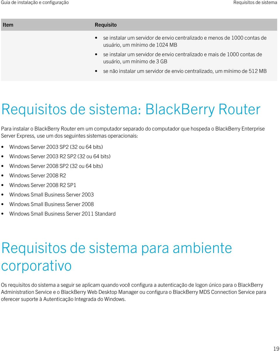 separado do computador que hospeda o BlackBerry Enterprise Server Express, use um dos seguintes sistemas operacionais: Windows Server 2003 SP2 (32 ou 64 bits) Windows Server 2003 R2 SP2 (32 ou 64