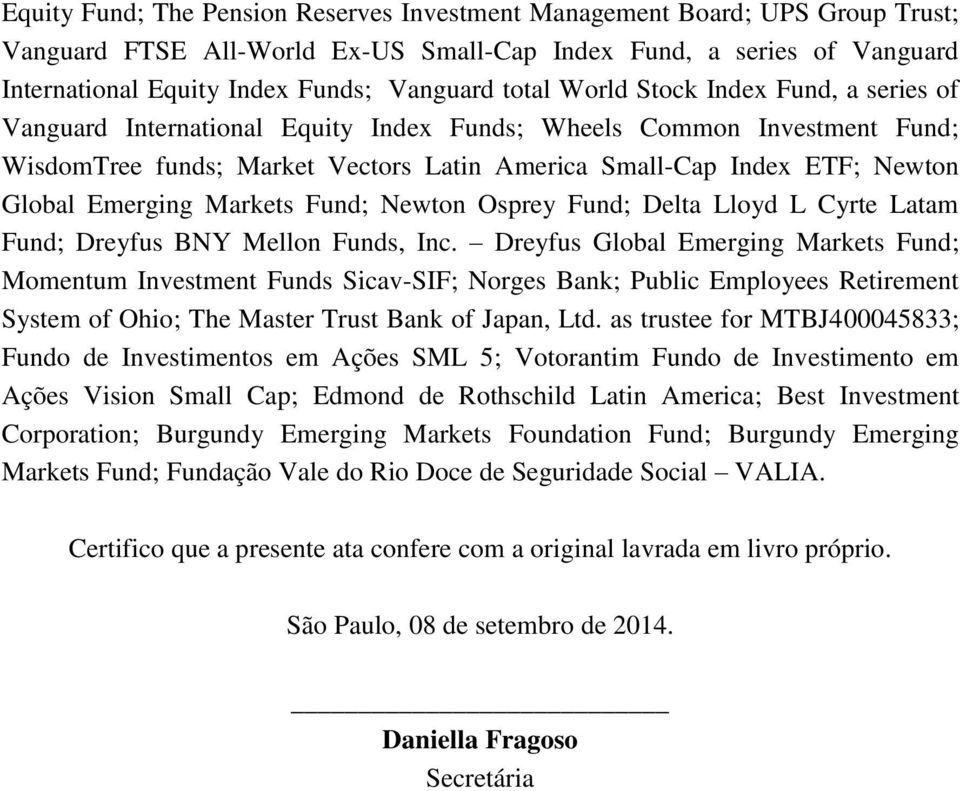 Emerging Markets Fund; Newton Osprey Fund; Delta Lloyd L Cyrte Latam Fund; Dreyfus BNY Mellon Funds, Inc.