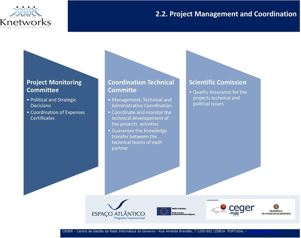 Coordinate and monitor the technical developement of the projects activities Guarantee the knowledge transfer