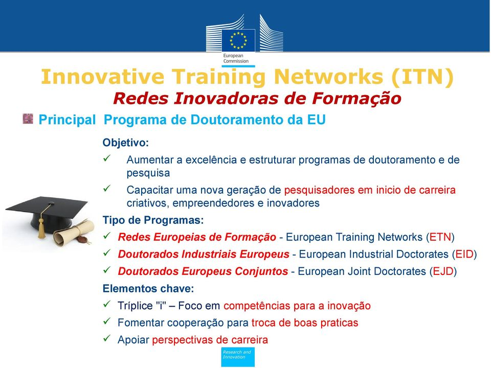 Training Networks (ETN) Doutorados Industriais Europeus - European Industrial Doctorates (EID) Doutorados Europeus Conjuntos - European Joint