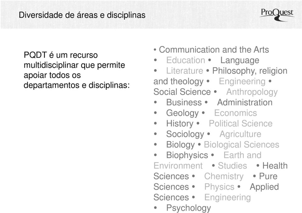 Anthropology Business Administration Geology Economics History Political Science Sociology Agriculture Biology Biological