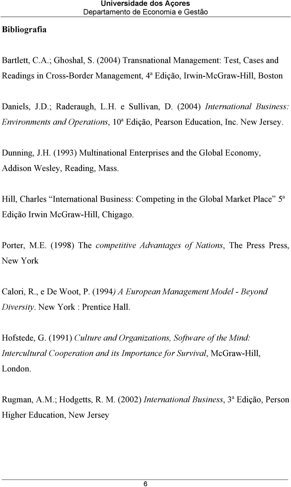 (1993) Multinational Enterprises and the Global Economy, Addison Wesley, Reading, Mass. Hill, Charles International Business: Competing in the Global Market Place 5ª Edição Irwin McGraw-Hill, Chigago.