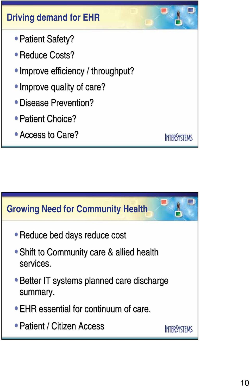 Growing Need for Community Health Reduce bed days reduce cost Shift to Community care & allied