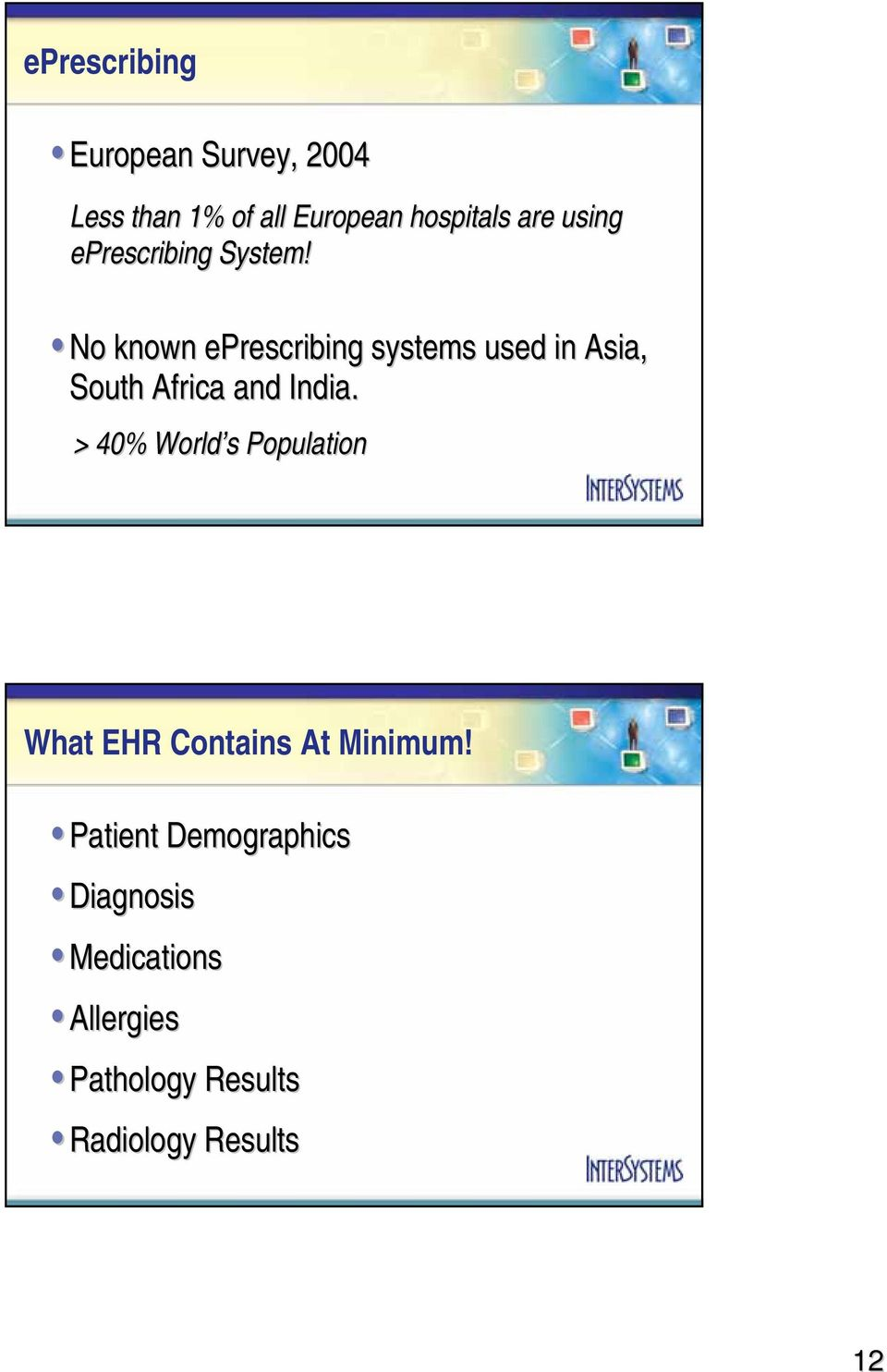 No known eprescribing systems used in Asia, South Africa and India.