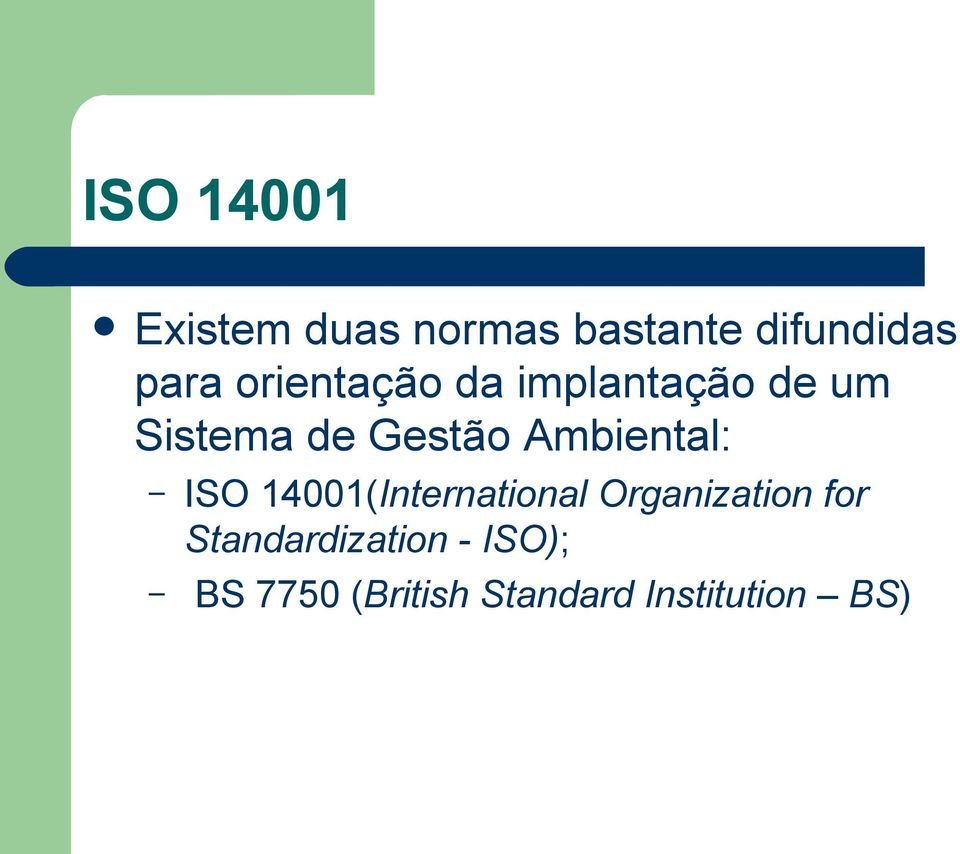 Ambiental: ISO 14001(International Organization for