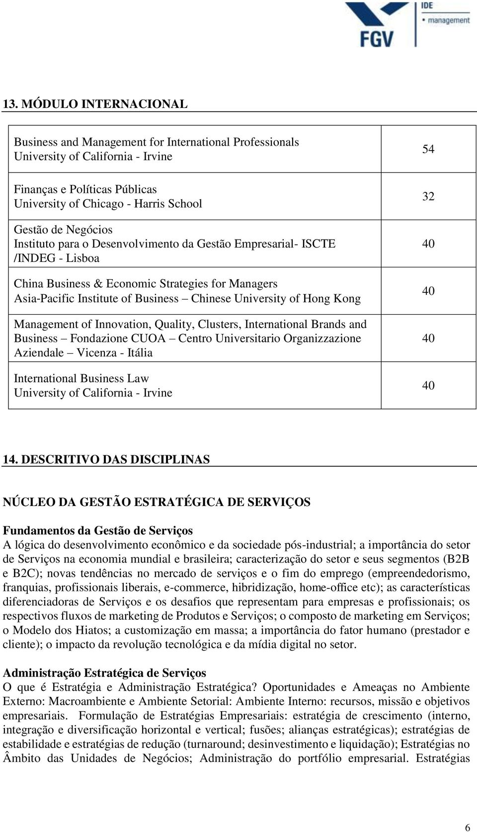 Kong Management of Innovation, Quality, Clusters, International Brands and Business Fondazione CUOA Centro Universitario Organizzazione Aziendale Vicenza - Itália International Business Law