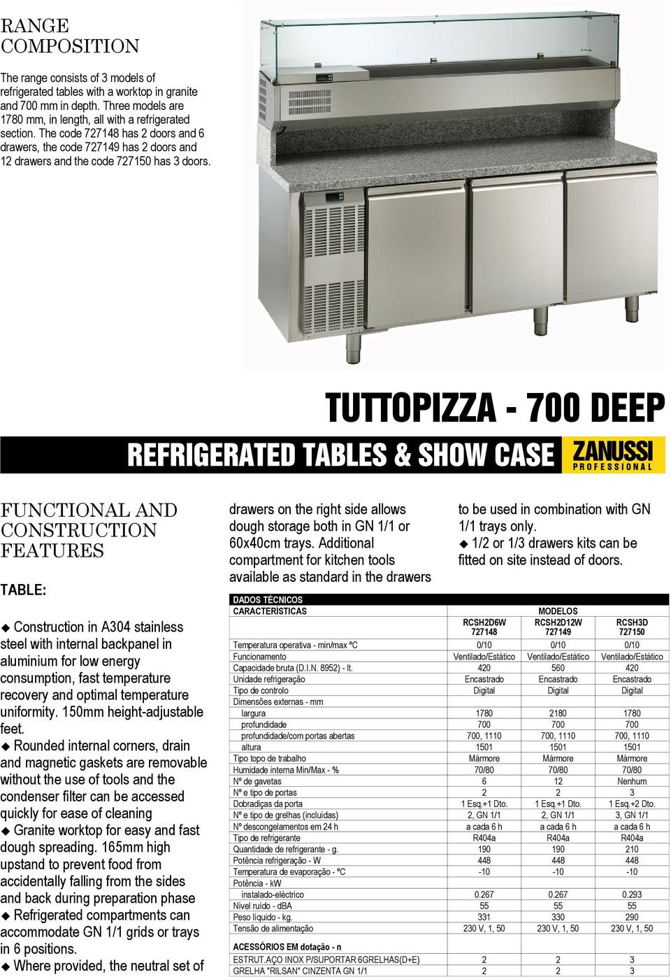 REFRIGERATED TABLES & SHOW CASE FUNCTIONAL AND CONSTRUCTION FEATURES TABLE: Construction in A304 stainless steel with internal backpanel in aluminium for low energy consumption, fast temperature