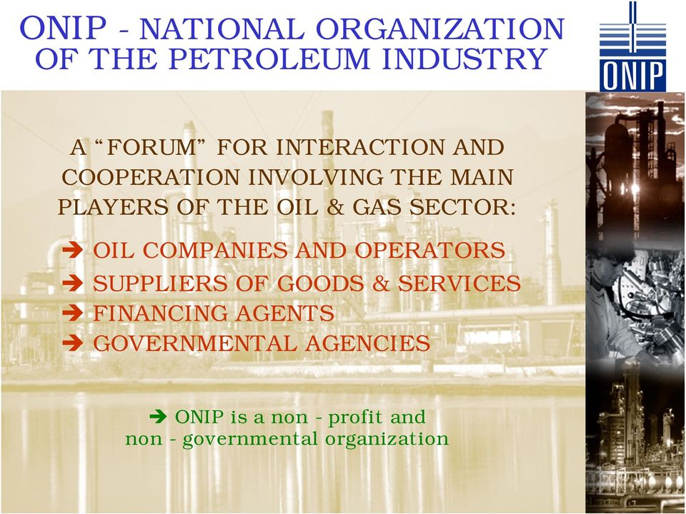 COMPANIES AND OPERATORS SUPPLIERS OF GOODS & SERVICES Quarto FINANCING