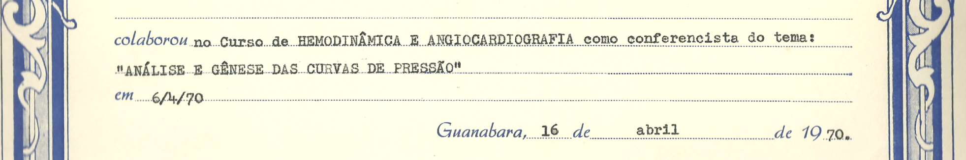 1970:Certificado - Estado da Guanabara Instituto Estadual de