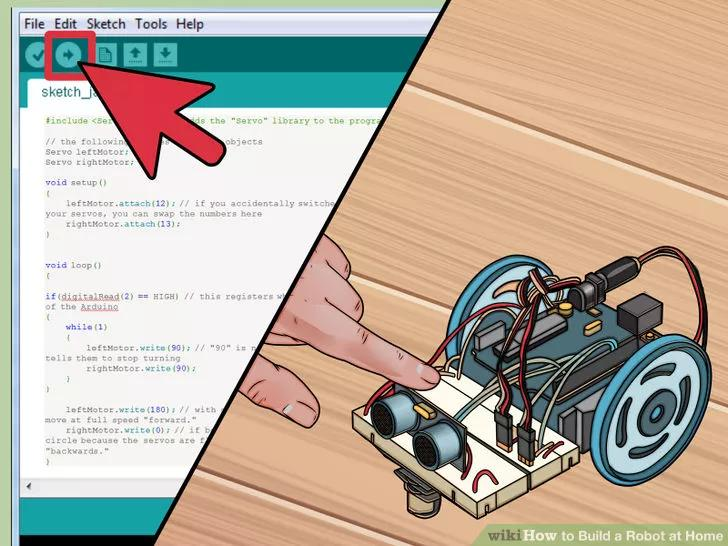 5 Upload and test your code. With the kill switch code added, you can upload and test the robot. It should continue to drive forward until you press the switch, at which point it will stop moving.