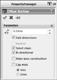 Part I: SolidWorks Basics FIGURE 3.11 The Offset Entities interface The options available in the Offset Entities interface are as follows: l Add dimensions. Constrains offset sketch entities.