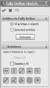Part I: SolidWorks Basics FIGURE 3.33 The Fully Define Sketch interface Exploring Sketch Settings In addition to sketch tools, another important aspect of controlling sketches is sketch settings.
