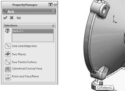 Part I: SolidWorks Basics 4. Select the inside face of a hole on the part, as shown in Figure 3.47. This creates an axis on the centerline of the hole.