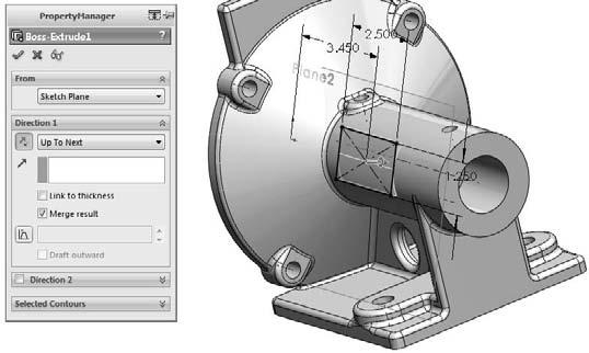 Chapter 3: Working with Sketches FIGURE 3.50 Creating the extrusion from the new sketch Summary Sketching in SolidWorks is something that you will do almost every time you open the software.