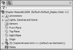 Part I: SolidWorks Basics On the CD-ROM This tutorial uses parts called Chapter4Frame.sldprt and Chapter4Screw.sldprt from the CD-ROM, in the material for Chapter 4.