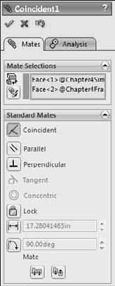 Part I: SolidWorks Basics 4. Click the Mate button from the Assembly toolbar. The mate options that are not grayed out are available with the current selection. For example, in Figure 4.