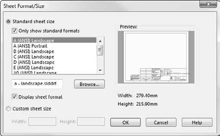 Part I: SolidWorks Basics FIGURE 4.22 The Sheet Format/Size dialog box Deselect for a blank drawing sheet Paper size Border and associated text Select for a custom size paper 4.