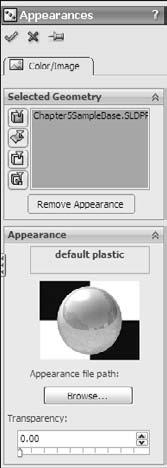 Chapter 5: Using Visualization Techniques Applying appearances To apply an appearance, use the Task Pane at the right of the graphics window, and click the Appearances tab. Figure 5.17 shows this.