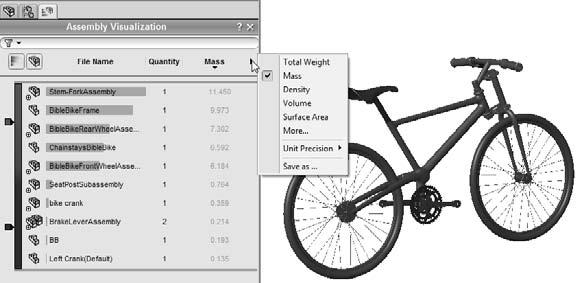 Part I: SolidWorks Basics You can expand or collapse subassemblies by clicking the assembly symbol at the top of the tree, or you can disable the color display by clicking the color gradient scale.