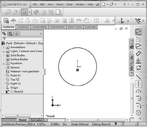 Part I: SolidWorks Basics 3. Press the Spacebar on the keyboard to open the View Orientation dialog box, and double-click the Front view. 4.