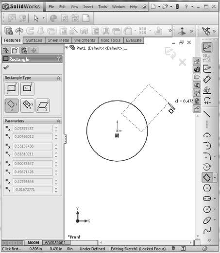 Chapter 1: Introducing SolidWorks 9. Activate the 3 pt Corner Rectangle. To find it through a menu, choose Tools Sketch Entities 3pt Corner Rectangle. 10.