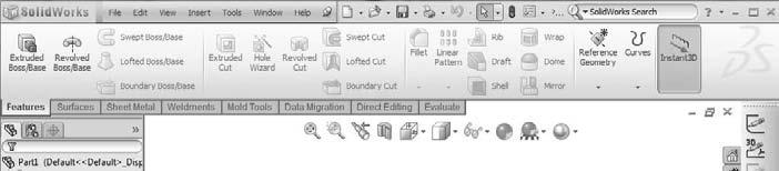 Part I: SolidWorks Basics You can customize the Heads-up View toolbar by using the Toolbars dialog box (Tools Customize Toolbars).