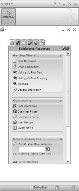 This panel enables you to select appearances and scenes for your SolidWorks documents. l Custom Properties.