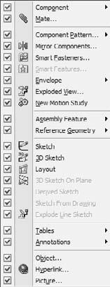 Chapter 2: Navigating the SolidWorks Interface FIGURE 2.45 Customizing the Insert menu 5. Select Customize Menu. 6. Deselect Section View. Click anywhere outside the list to close it. 7.
