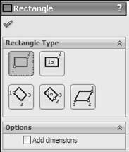 Part I: SolidWorks Basics Corner Rectangle creates a rectangle by clicking one corner and dragging to the diagonal corner.