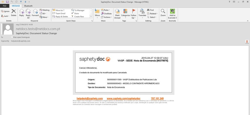 SaphetyDoc (2/2) Notifications configuration, based on document status change After configuring, anytime a