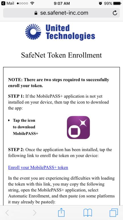 Registro do software do token: SafeNet MobilePASS+ para Apple ios Etapa 1: Abra o e-mail de autorregistro a. Abra o e-mail de autorregistro no seu dispositivo Apple ios.