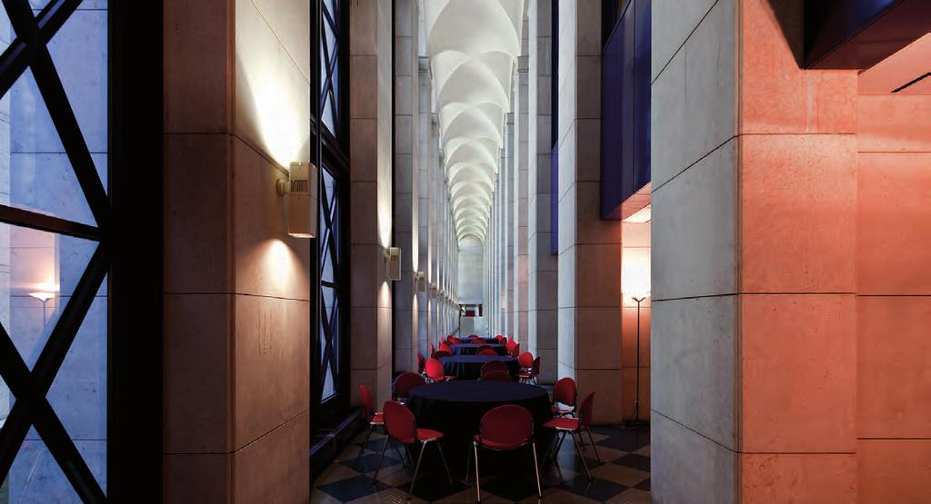 Next to the rooms and auditoria, there are three foyers which can be used for exhibitions and catering services.