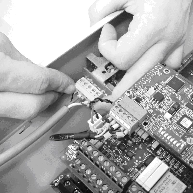 Connecting the connector of the board Conectando