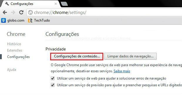 Desative o bloqueador de Pop-ups no Navegador Google Chrome + + + + Passo 3º.