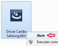 Classificação: Após extrair o driver para Windows 32bits, será gerado o programa Driver Cartao Safesing 32X, e para Windows 64bits: Driver Cartao
