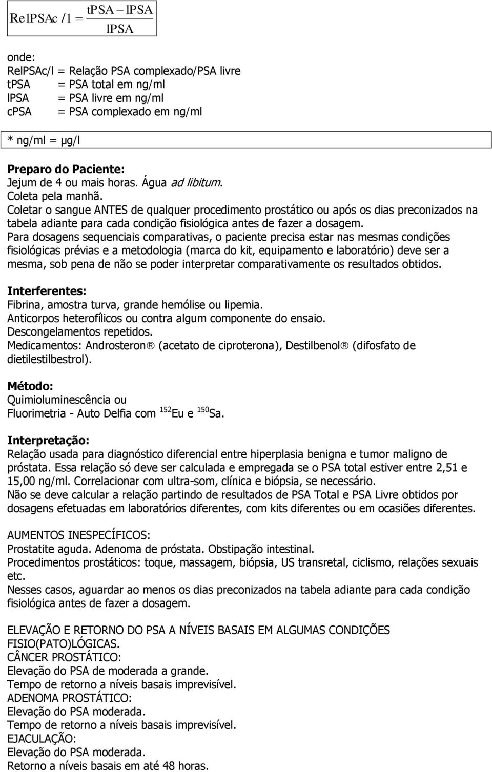 requisitos de psa prostático s-ag