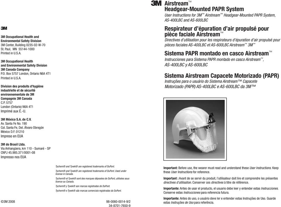 User 3m For Headgear-mounted Airstream Instructions System Papr