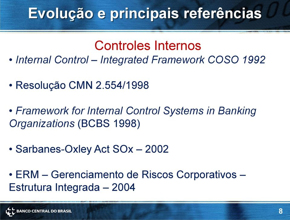 554/1998 Framework for Internal Control Systems in Banking Organizations