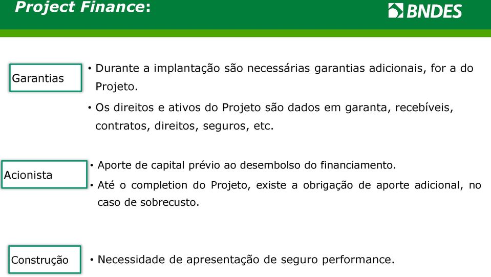 Acionista Aporte de capital prévio ao desembolso do financiamento.