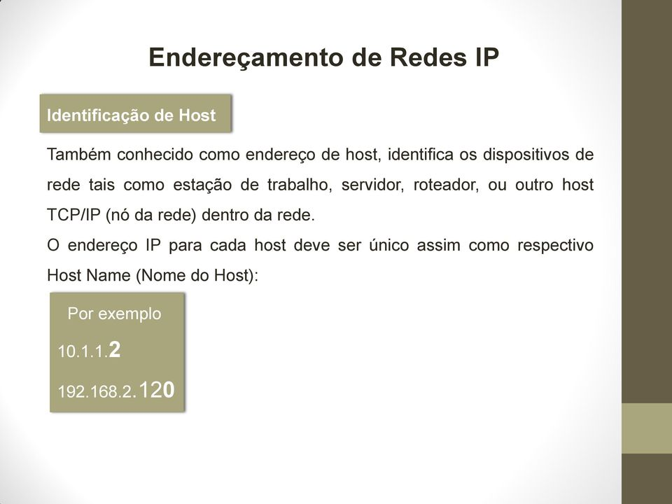 host TCP/IP (nó da rede) dentro da rede.